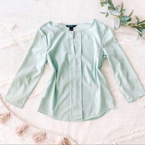 Seafoam blouse with keyhole detail